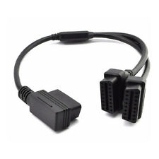 OBD 2 II 50cm 16 Pin Right Angle Y Splitter Extension Cable for Diagnostic Tool