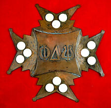 Vintage Phi Delta Psi Copper Wall Plaque Mother of Pearl Fraternity Decor