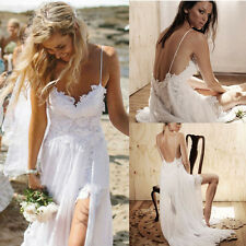 Hot Women Sexy Backless White Lace Beach Wedding Bridesmaid Dress Dancing Dress