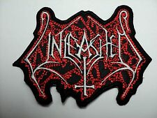 UNLEASHED SHAPED WHITE AND RED LOGO  EMBROIDERED PATCH