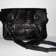 Disney Parks Mickey Mouse Black Patent Leather Messenger Bag Faux Snake Skin