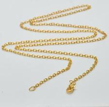 18K GOLD PLATE STAINLESS STEEL - 2mm - FLAT CABLE SWEATER NECKLACE CHAIN - 114CM