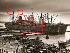 WWII GREAT 11X14 PHOTO OF USS AQUARIUS DOCKED CAPE GLOCESTER PACIFIC ACTION LOOK