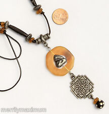 Chico's Signed Long Vintage Necklace Silver Tone Mandala & Beads Amber Beads
