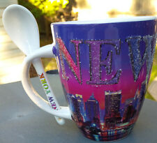 NEW YORK CITY NIGHT SKY LINE CERAMIC MUG WITH SPOON