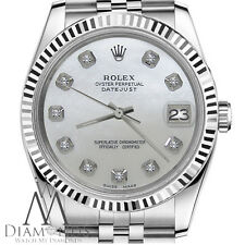 Man`s Rolex 36mm Datejust White MOP Mother Of Pearl Dial with Diamond Watch