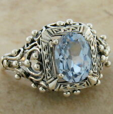 ANTIQUE VICTORIAN DESIGN SIM AQUAMARINE 925 STERLING SILVER RING SIZE 5,    #386