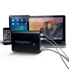 27000mAh Portable AC Battery Pack w/ AC Plug Outlet & USB Ports, Black