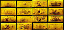 LOTTO BANCONOTE DOLLAR 1-1000 REPLICA ORO 24K