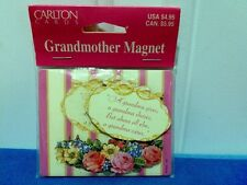 NEW  CARLTON CARDS Grandmother Magnet- Pretty Floral Stripe- Mother's Day Gift