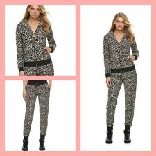 New Women's Juicy Couture Tracksuit Leopard Brown Velour Hoodie Pants 2pc Set Sm