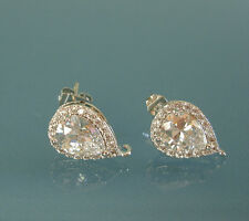 Teardrop Crystal Cubic Zirconia CZ Rhodium Plated Earstud Earrings Post Findings