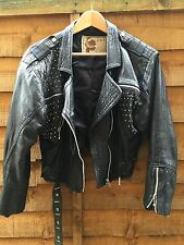 VTG Black Real Leather 1980's Ladies Studded Jacket