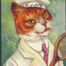 RARE THIELE..! DAPPER CAT GENTLEMAN READY TO  PLAY TENNIS,RACKET,1909 POSTCARD