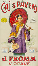 PEACOCK BRAND TEA, 1900 Vintage Chinese Advertising Giclee Canvas Print 20x34