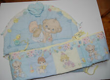 Vintage Precious Moments 2-pc Crib Bumper Set Baby Nursery Teddy Bear Pastels