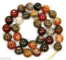 NATURAL 8MM PICASSO JASPER GEMSTONE ROUND BALL LOOSE BEAD 15'' AAA