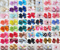 3.5'' Handmade Girls Hair Bows Bowknot Alligator Clips Barrettes Accessories