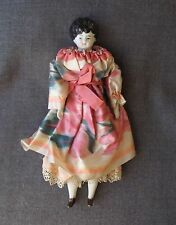 ANTIQUE BLUE EYES SILK DRESS BROWN SHOES FROZEN CHARLOTTE DOLL GERMANY