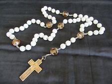 Grand chapelet ancien perle en opaline et croix gravée Mission - 20356