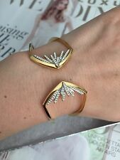 Nadri bracelet Cuff with Swarovski Crystals Gold Plated Good Gift!  NEW$119