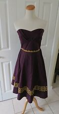 NWOT Girls from Savoy Purple A Line Strapless Dress Sz 6 Anthropologie Batik