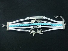 *Handcrafted Blue & White Owl Charm Leather/Suede/Cord 4 in 1 Infinity Bracelet*