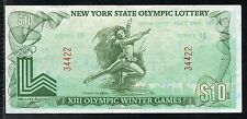 NEW YORK STATE 1975 XIII OLYMPIC WINTER  LOTTERY $10 NOTE AS SHOWN