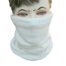 Polar Fleece Neck Warmer Snood Scarf Hat Unisex Thermal Ski Wear Snowboard WHITE