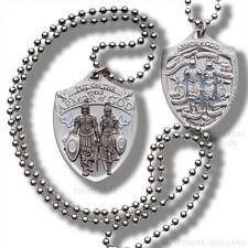Whole Armor of God Dog Tag Pendant with Thick Ball Chain Military Style Necklace
