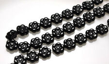 12 Black Czech Glass Flower Beads 8MM