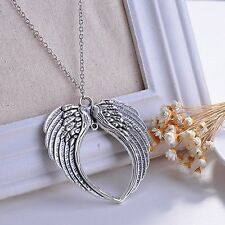 Retro Designer Prom Angel Wing Charm Lucky Chain Long Necklace Pendant Gift