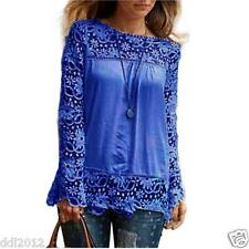 Plus Size 5XL Womens Long Sleeve Shirt Casual Lace Blouse Loose Tops T-Shirt