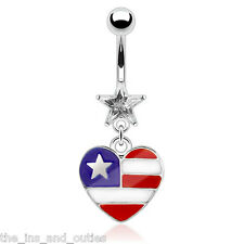 Epoxy Heart  American Flag Belly Ring Pierced Navel Prong Set Star CZ Gem
