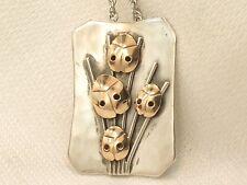 Estate Sterling Silver 14K Rose Gold LCS Mark Modernist Ladybug Pendant Necklace