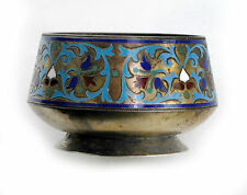 Antiqie Russian Silver CLOISONNÉ ENAMEL Salt Bowl Cellar by Grachev Brothers