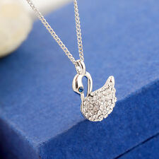 New 18K White Gold Filled SWAROVSKI Crystal Cute Swan Pendant Talisman Necklace