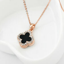 18K Rose Gold GP Inlay Swarovski Crystal Four Leaf Clover Lucky Pendant Necklace