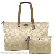 NWT Coach XL Khaki Tote Overnight Nylon Packable Weekend F 77316 Duffle Travel