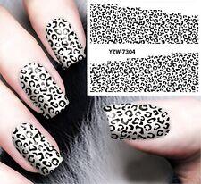 Nail Art Pegatinas Calcomanías de agua transfiere Esmalte gel de leopardo Blanco y Negro