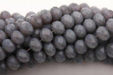 50Pcs Gray Czech Glass Faceted Rondelle Charms Loose Spacer Beads Jewelry 6mm