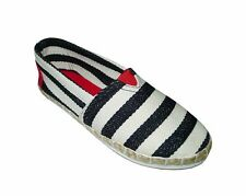 NEW! AVA WOMEN'S ESPADRILLE FLATS/ SHOES (BLACK STRIPES, SIZE #6)