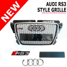 XB GRILLE FOR AUDI A3 8P TO RS3 S3 CHROME FRAME BLACK MESH 08 -12 FACELIFT