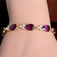 18k Yellow Gold Filled Pretty Attractive New Austrian Crystal Chain Bracelet 1pc