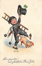 BG8667 chimney sweep pig clover    neujahr new year greetings germany