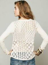 125018 New Free People Patches Of Lace Henley Crochet Ivory Cotton Blouse Top XS