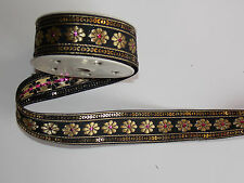30mm black gold  jacquard embroidered ribbon applique motif trimming decor
