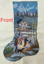finished cross stitch,completed Christmas stocking,Christmas Eve Fun