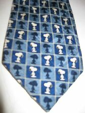Peanuts Men's Novelty Necktie Tie Blue Snoopy Standing Blue Squares Shadows
