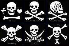 Stickers: 6 Historical Jolly Rogers, collector set.
